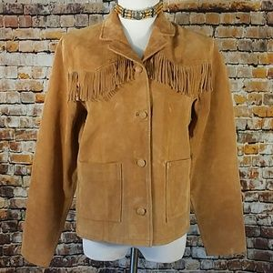 Lisa International  Jackets & Blazers - Vintage Suede Leather Fringe Jacket