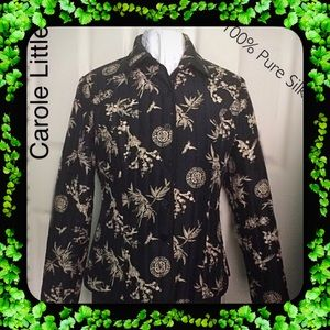 Carole Little / Black Print Silk Designer Jacket