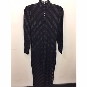 St. John by Marie Gray Black Dress w/ Chevron