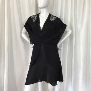 Zara Black Lace Flowy Dress Sz M