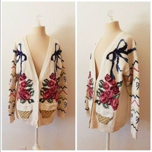 90s Hand Knit Slouchy Sweater Rose Cardigan