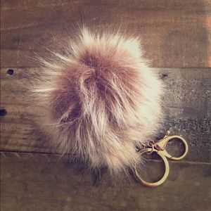 Accessories - NWT Brown Faux Fur Pouf Keychain Keyfob