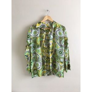 Vtg 60's 70's green retro yellow floral shirt