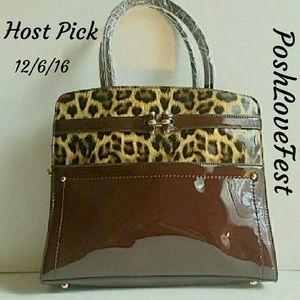 Handbags - SALE NWT Burgundy Leopard Print Tote