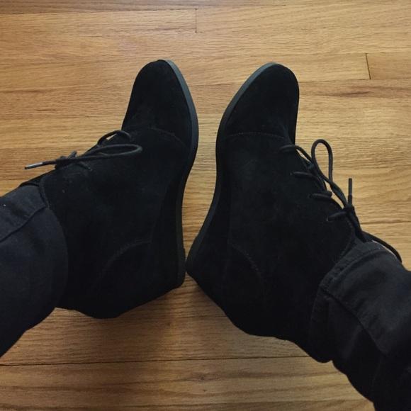madden girl black wedge bootie