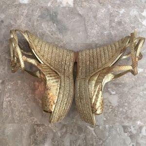 Gold Bebe wedge sandals