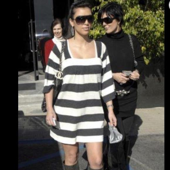 9fa13af656d Express gray   white striped dress Kim Kardashian