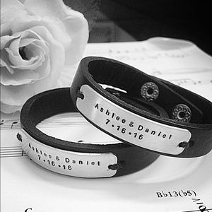 Jewelry - Custom stamped Couples leather bracelets. Set of 2