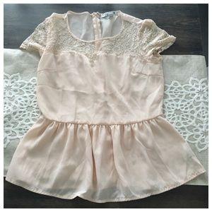 Blush peplum blouse