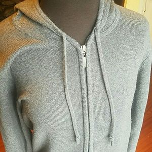 Gray Cotton Zip Up Sweater w/hood