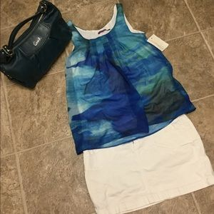 NWT Ladies ocean blue color dyed blouse Sz small