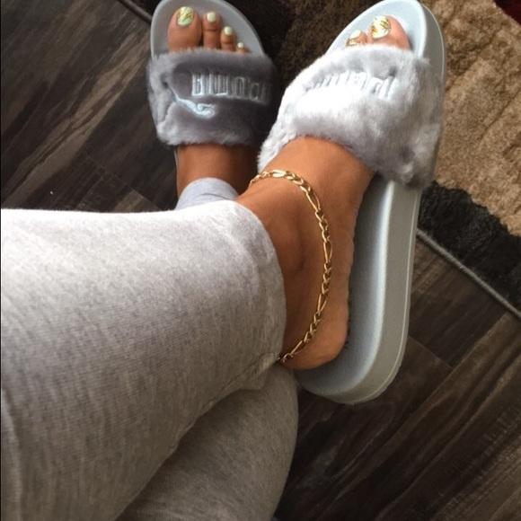 fenty puma slides on feet