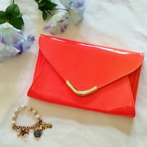 Neon Orange Gold Envelope Clutch