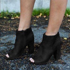 Shoes - Black suede peep toe classic heel bootie