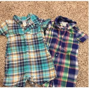 2 baby boy plaid rompers