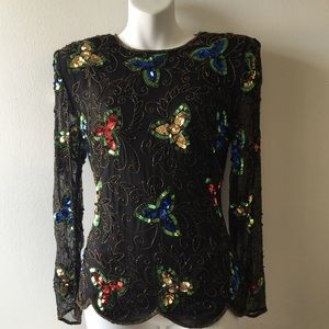 Vintage silk sequin cocktail top