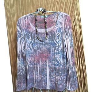 Unity Lavender Stretch Pullover Top Size L 14