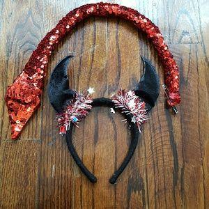 Accessories - Devil Costume horns headband, sequin tail set