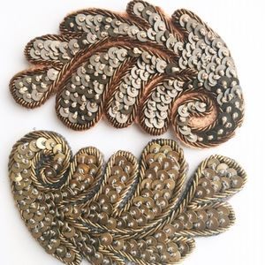 Embroidered Paillette Leaf Hair Clip