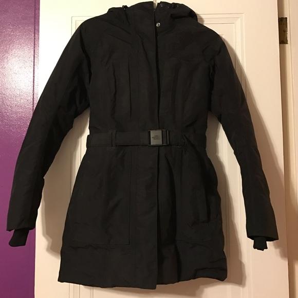Black belted parka coat