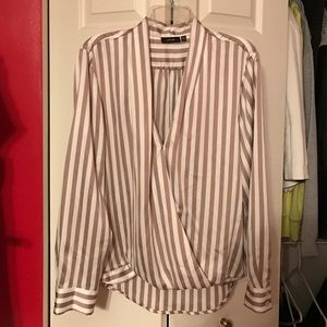 APT 9 beige and white stripped blouse
