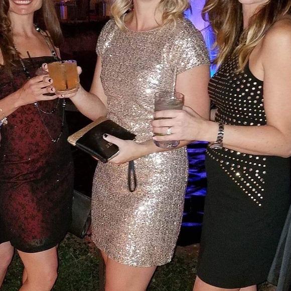White House Black Market Dresses Gold Sequin Dress Poshmark
