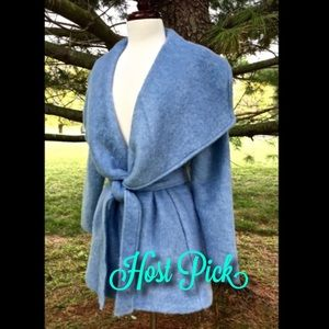 Anthropologie blue mohair blend Wrap Jacket Robe
