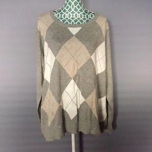 Merona Light Gray, Tan & White Sweater