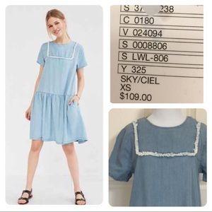 UO Little White Lies Suki Chambray Shift Dress