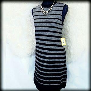 ECI Dresses & Skirts - 🏮New ECI M Silver Stripe Shift Sweater Dress