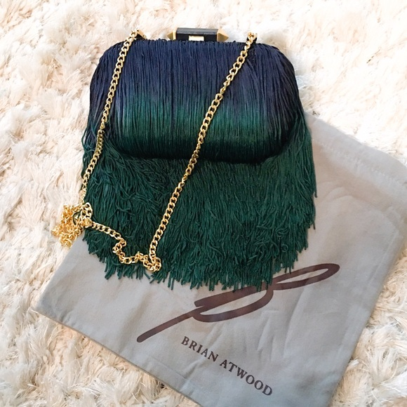 e5817d413 B Brian Atwood Handbags - Brian Atwood Ombré Peacock Color Fringe Clutch Bag