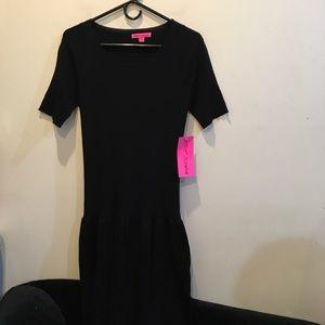 NWT Betsey Johnson Black Bandage Peplum Dress