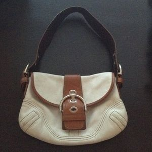 White and tan leather Coach Purse