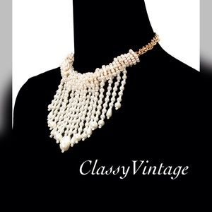 boutique Jewelry - Beautiful Pearl choker with Pearl fringe