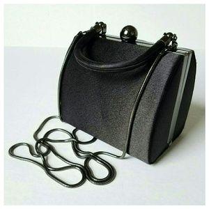 Preston & York Handbags - Black Satin Hard Box Clutch w/ Metallic Strap