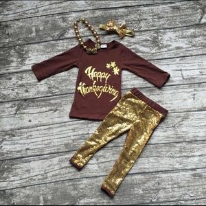 Matching Sets - Girl's Happy Thanksgiving 4 piece outfit