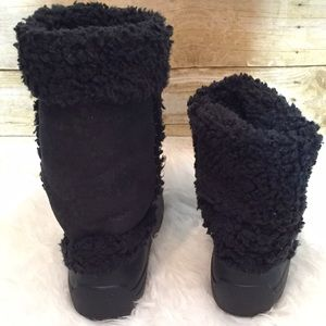 026ead5435e64e CROCS Shoes - Crocs Nadia Black Sherpa Fleece Lined Snow Boots 7