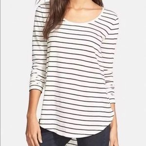 bp Tops - BP. Ivory and Black Striped High/Low Tee