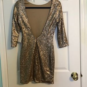 Gold Sequin Tobi Mini Dress with 3/4 Sleeves