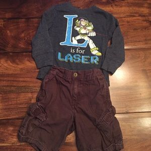 Other - Boys Cargo Shorts and Buzz  TShirt. Size 2T.