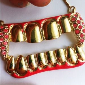 Jewelry - Teeth red grill tooth painted necklace pendant