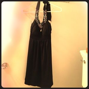 Adorable black beaded dress by Candies. Size XS