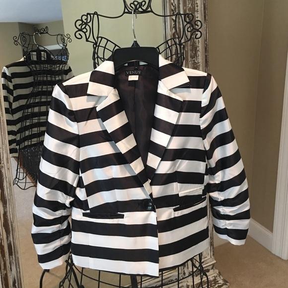 0a183e030ce7 venus Jackets & Coats | Black White Striped Satin Blazer | Poshmark
