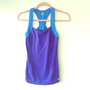 ALO yoga exercise top racer back Blue XS