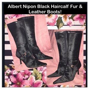Albert Nipon Shoes - Albert Nipon Black Haircalf Fur & Leather Boots!