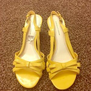 Predictions Yellow open toe 2 inch wedge