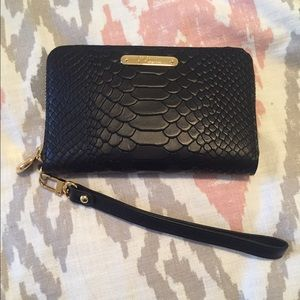 NWOT GiGi New York Black Python Wristlet