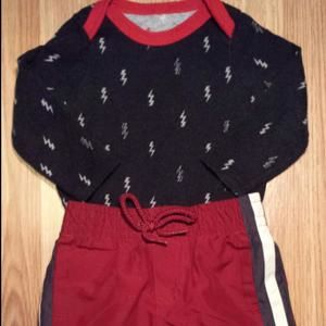 Other - Navy lightening bolt top and red pants 6-9 months