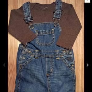Old Navy Other - Brown L/S Carter's top and Old Navy Denim Suspenders 6-9 months