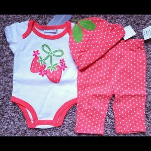 First Impressions Other - NWT Strawberry Top, Pants, Cap Set